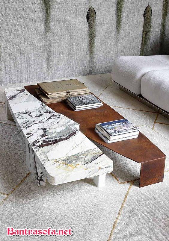 bàn trà mix giữa đá marble và gỗ công nghiệp