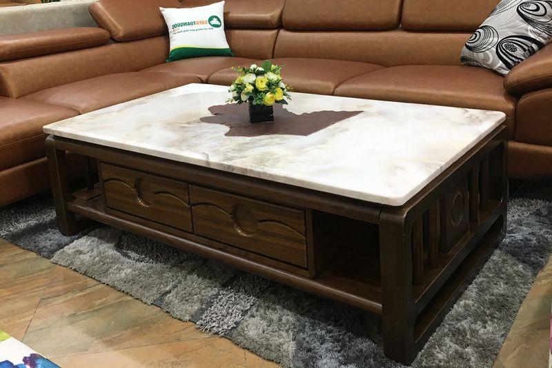 bàn trà mặt đá khung gỗ tự nhiên