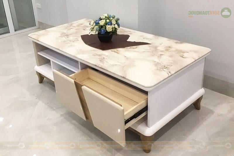 bàn trà gỗ công nghiệp mặt đá marble nhân tạo