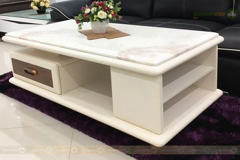 bàn trà mặt đá marble nhân tạo gỗ khung công nghiệp
