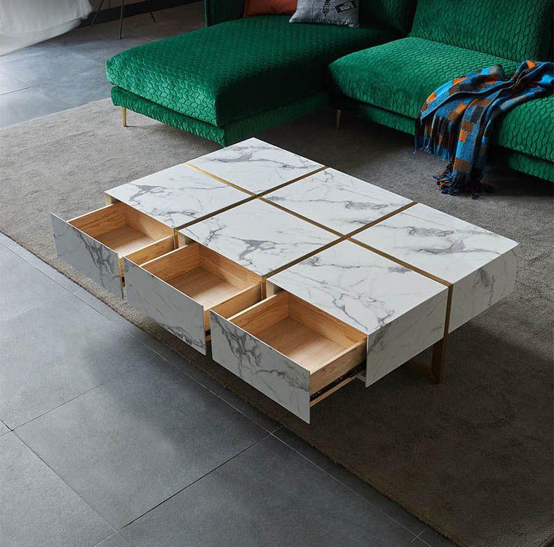 bàn trà hình chữ nhật mặt đá marble trắng sữa