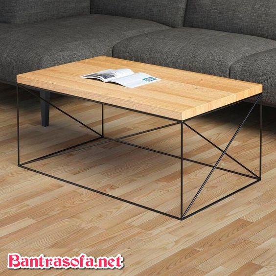 bàn trà hình chữ nhật khung sắt