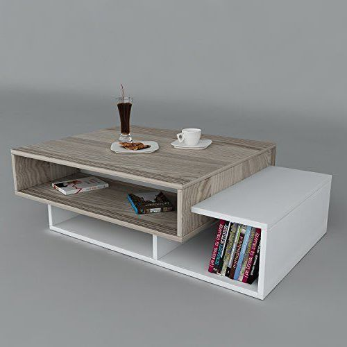 bàn trà gỗ công nghiệp kiêm giá sách 2 tầng