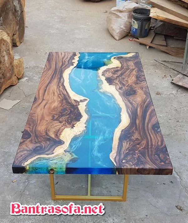 bàn epoxy dòng sông bằng gỗ me tây