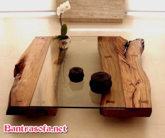 bàn trà gỗ mặt kính đẹp mộc mạc