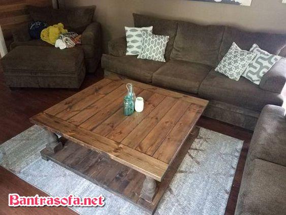 mẫu bàn trà gỗ phong cách rustic