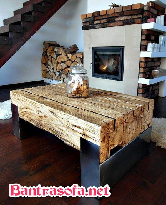 bàn trà rustic bằng gỗ đẹp