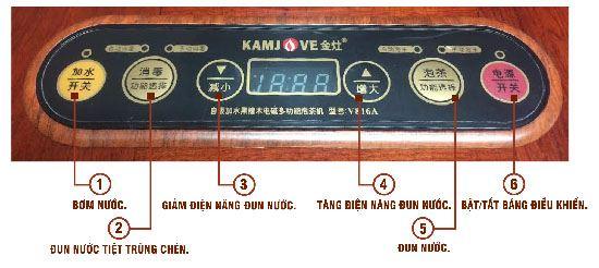 Hệ thống nút bấm một mẫu bàn trà điện Kamjove.