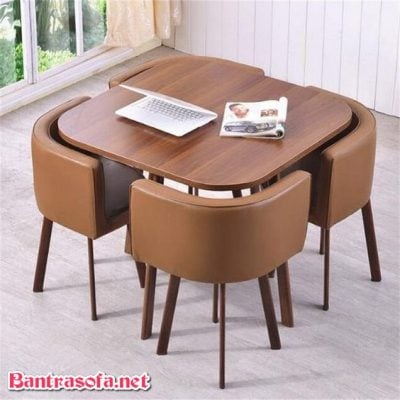 bàn ghế quán trà sữa bọc da cao cấp