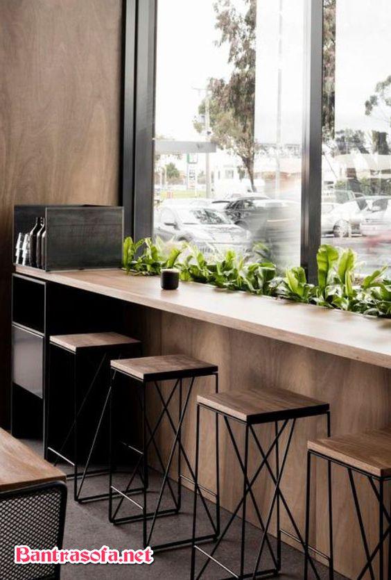 bàn ghế quán trà sữa dạng quán bar