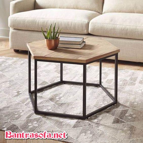 bàn lục giác chân sắt mặt gỗ