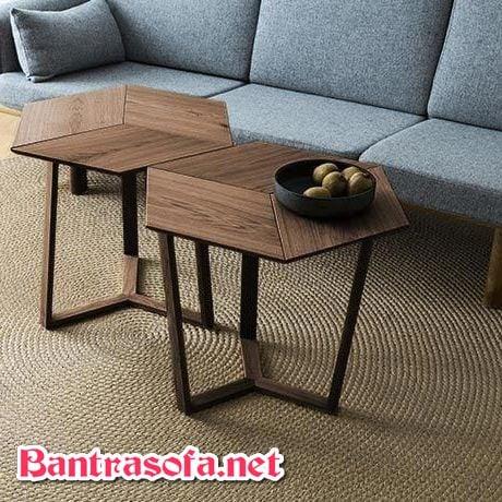 bàn trà gỗ công nghiệp có 6 cạnh