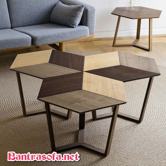 mẫu bàn trà gỗ đẹp 6 cạnh