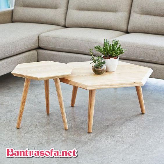 bàn trà đôi ghép với nhau lục giác bằng gỗ