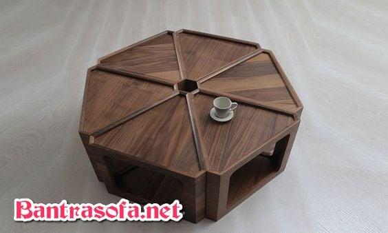 bàn trà uống nước 12 cạnh ghép từ 12 bàn riêng lẻ