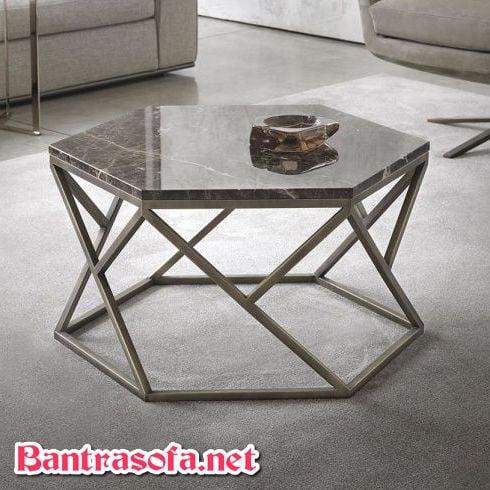 bàn trà mặt đá marble hình lục giác