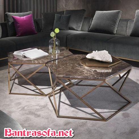 bàn trà đôi mặt đá marble hình lục giác