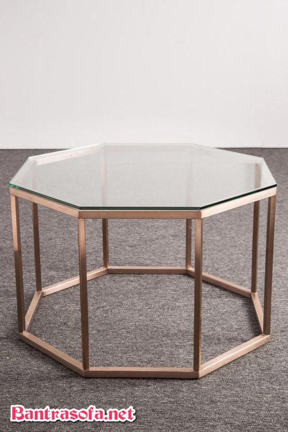 bàn mặt kính bát giác chân kim loại sơn chống gỉ