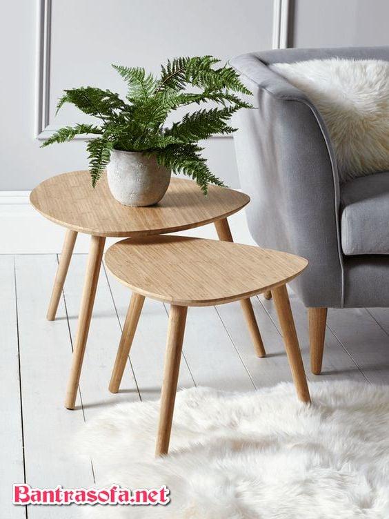 bàn trà đôi 2 tầng bằng gỗ