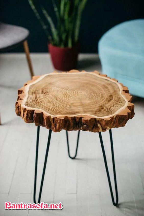 bàn trà gốc cây 3 chân sắt