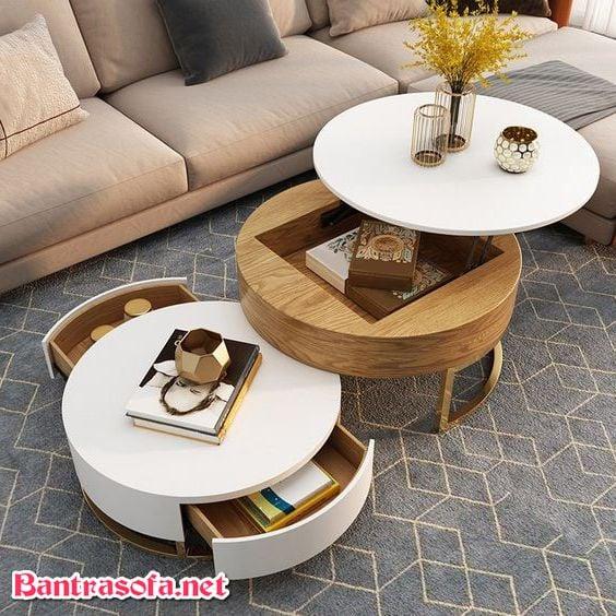 bàn trà tròn phòng khách hiện đại 2 tầng