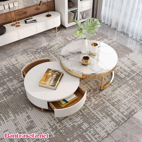 bàn trà tròn 2 tầng đa năng hiện đại