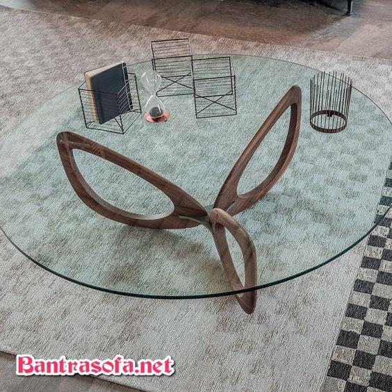 bàn trà chân gỗ mặt kính
