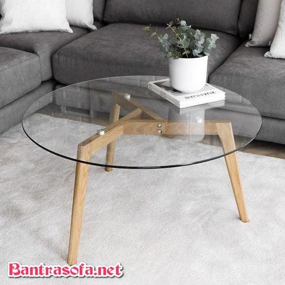 bàn trà kính 3 chân