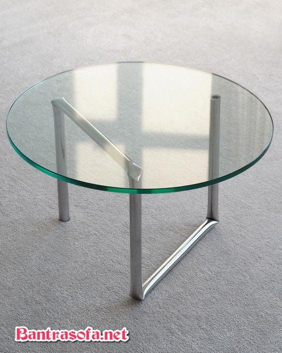 bàn trà mặt kính 3 chân inox