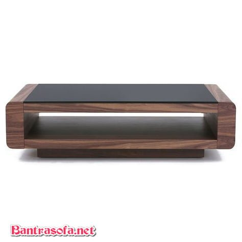 bàn trà gỗ công nghiệp mặt kính đen