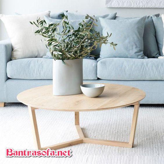 bàn trà hình tròn gỗ 3 chân