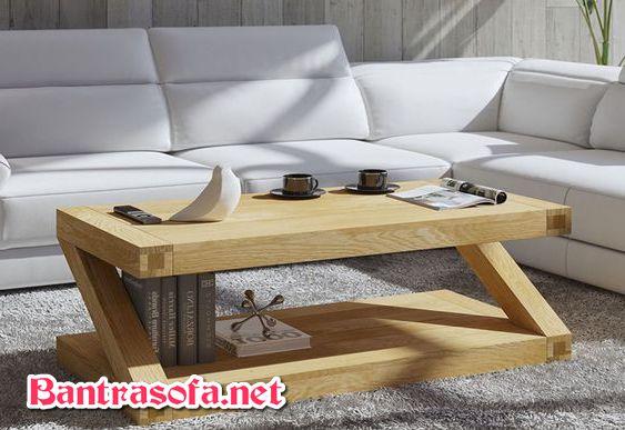 bàn trà hình chữ Z bằng gỗ sồi trắng