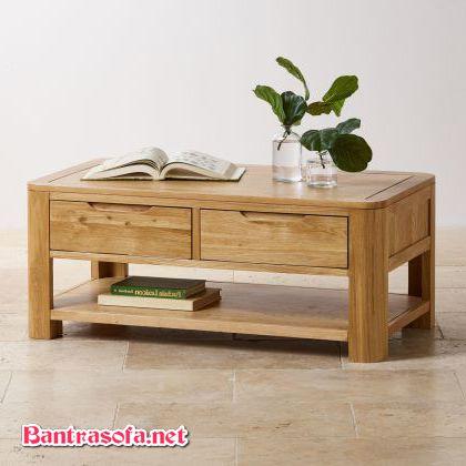 bàn trà kích thước nhỏ được làm từ gỗ oak