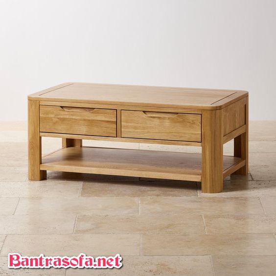 bàn trà có ngăn kéo làm từ gỗ sồi trắng nga