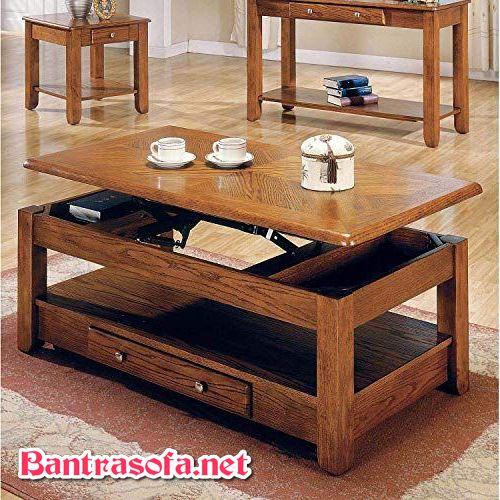 bàn trà sofa gỗ sồi kết hợp bàn ăn bàn làm việc