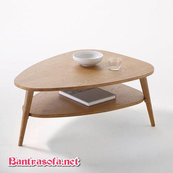 bàn trà gỗ sồi 2 tầng