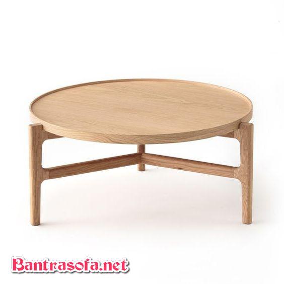 bàn trà hình tròn 3 chân làm từ gỗ sồi