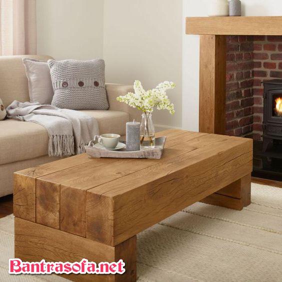 bàn trà gỗ nguyên khối được làm từ gỗ sồi