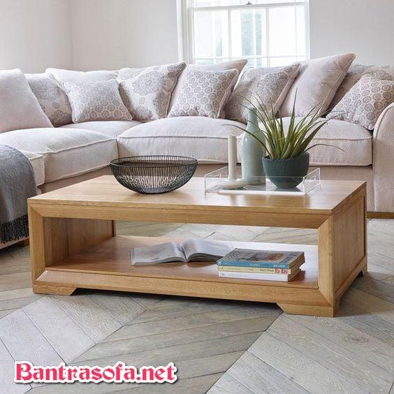 bàn trà đơn giản bằng gỗ sồi trắng nhập nga