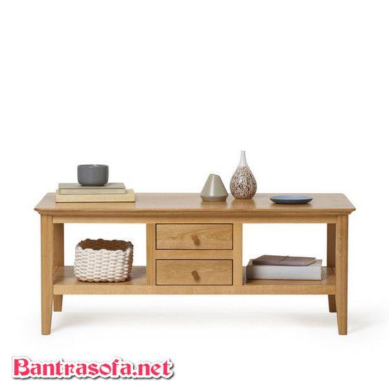 bàn trà 2 ngăn kéo nhỏ được làm từ gỗ sồi trắng
