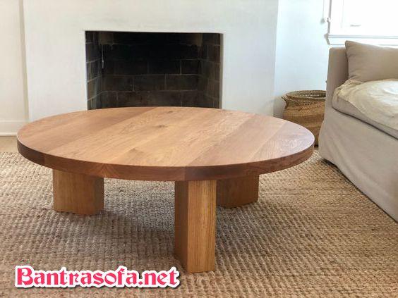 bàn trà tròn làm từ gỗ sồi
