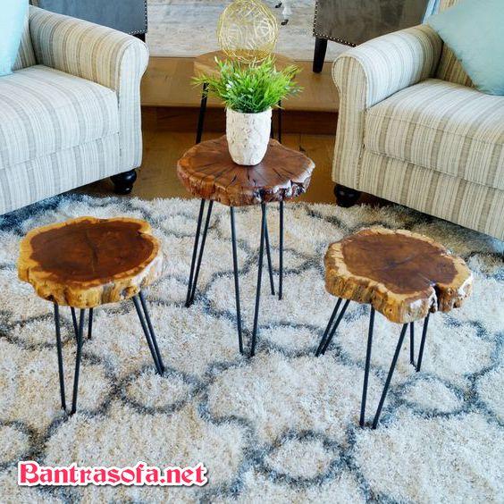 bàn sofa gốc cây chân sắt nhỏ đẹp