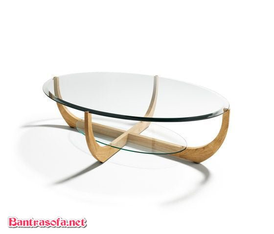 bàn trà mặt kính elip hiện đại