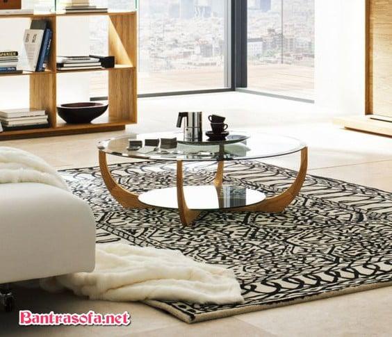 bàn trà gỗ mặt kính đẹp