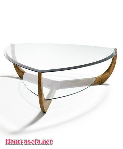 bàn trà bắc âu tam giác mặt kính bo tròn viền