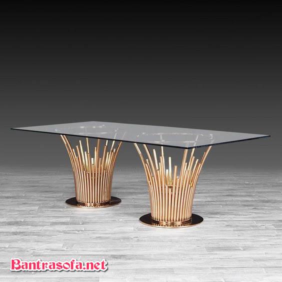 bàn trà chân inox mặt kính đẹp