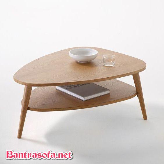 bàn trà gỗ 2 tầng đẹp mắt hình elip trứng