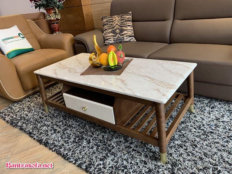 bàn trà mặt đá marble nhâp Trung Quốc
