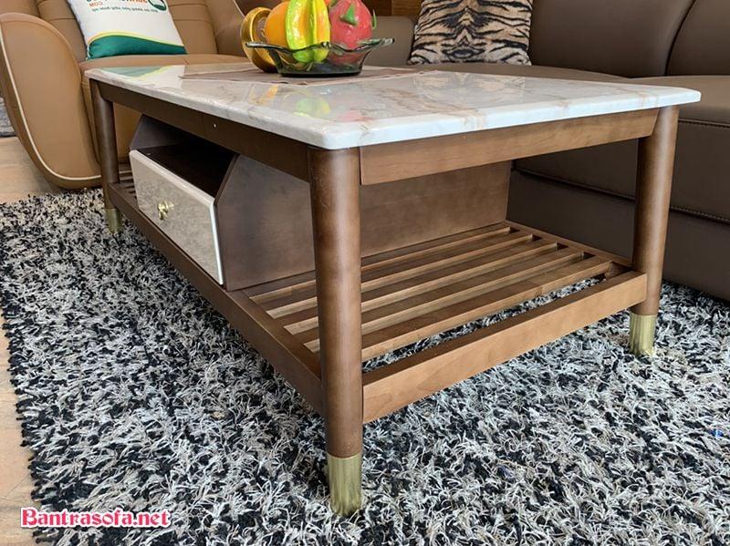bàn trà sofa chân gỗ bịt kim loại