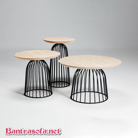 bàn trà lồng chim tròn mặt gỗ
